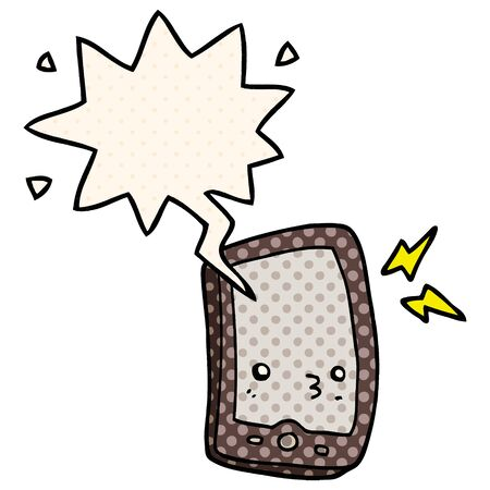 cartoon mobile phone with speech bubble in comic book style