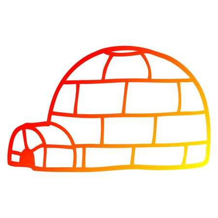 warm gradient line drawing of a cartoon igloo Illustration