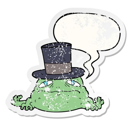 cartoon rich toad with speech bubble distressed distressed old sticker