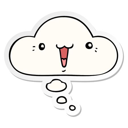 cute cartoon face with thought bubble as a printed sticker