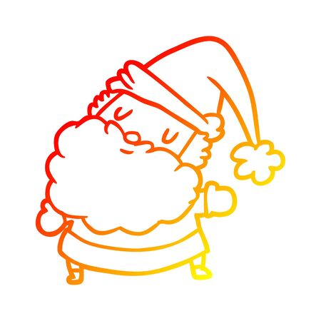 warm gradient line drawing of a santa claus Illustration