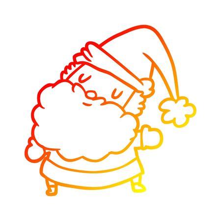 warm gradient line drawing of a santa claus Illusztráció