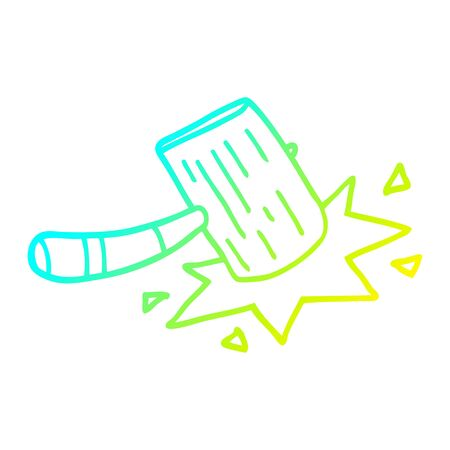 cold gradient line drawing of a cartoon wooden mallet  イラスト・ベクター素材