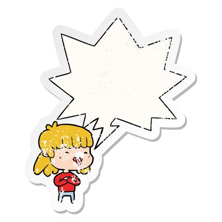 cartoon girl sticking out tongue with speech bubble distressed distressed old sticker  イラスト・ベクター素材