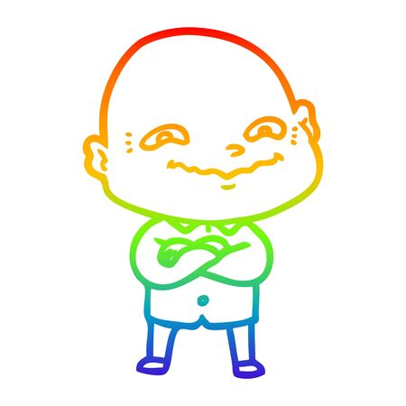 rainbow gradient line drawing of a cartoon creepy guy  イラスト・ベクター素材