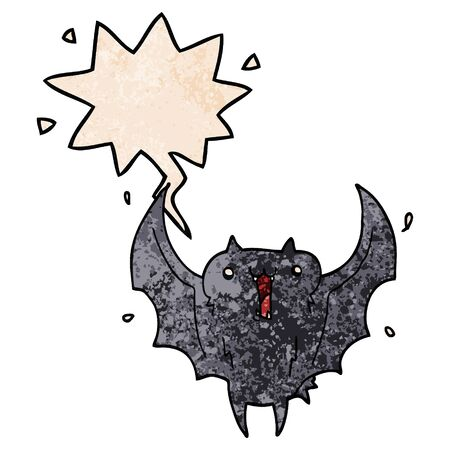 cartoon happy vampire bat with speech bubble in retro texture style 向量圖像