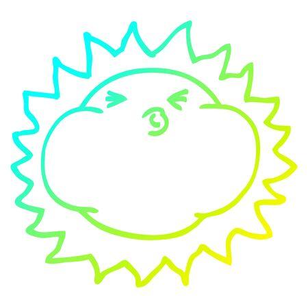 cold gradient line drawing of a cartoon shining sun Ilustração