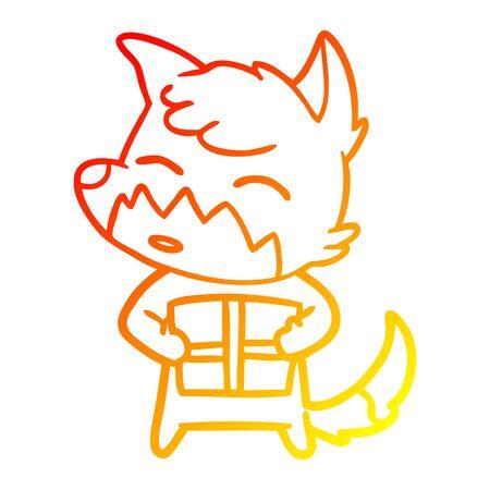 warm gradient line drawing of a cartoon fox