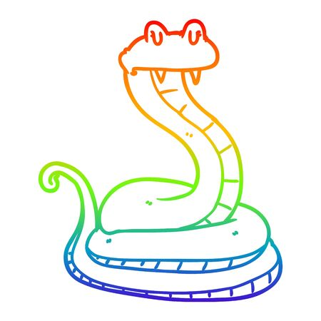 rainbow gradient line drawing of a cartoon snake Stock Illustratie