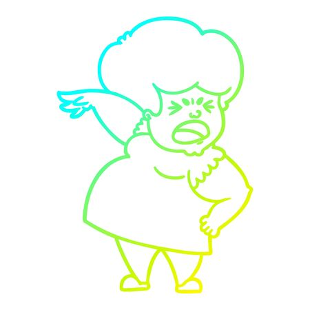 cold gradient line drawing of a cartoon angry woman Stockfoto - 129797392
