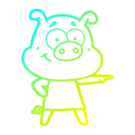 cold gradient line drawing of a happy cartoon pig
