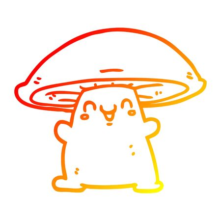 warm gradient line drawing of a cartoon mushroom character