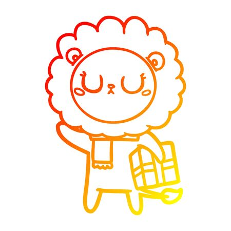 warm gradient line drawing of a cartoon lion with christmas present