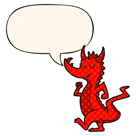cartoon cute dragon with speech bubble in comic book style