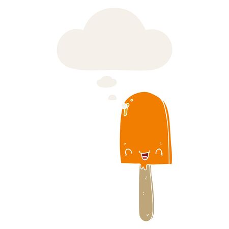 cartoon ice lolly with thought bubble in retro style Çizim