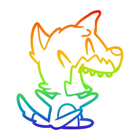 rainbow gradient line drawing of a laughing fox cartoon