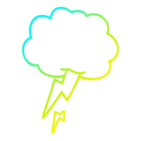 cold gradient line drawing of a cartoon thunder and lightening