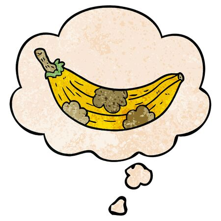 cartoon old banana with thought bubble in grunge texture style