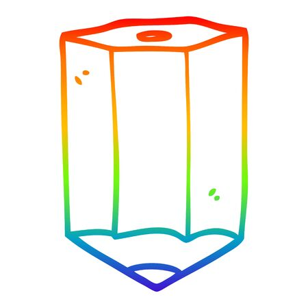 rainbow gradient line drawing of a cartoon colored pencil Illustration