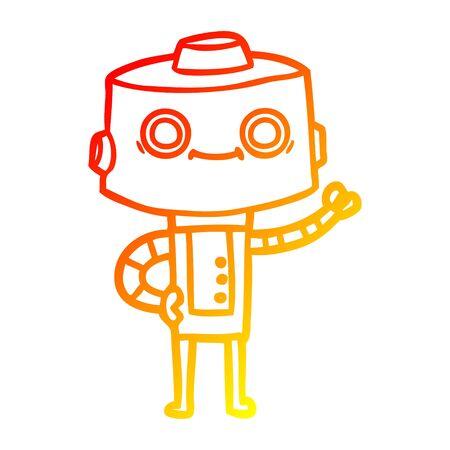 warm gradient line drawing of a cartoon robot Foto de archivo - 129797673