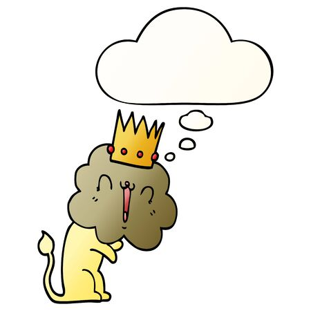 cartoon lion with crown with thought bubble in smooth gradient style