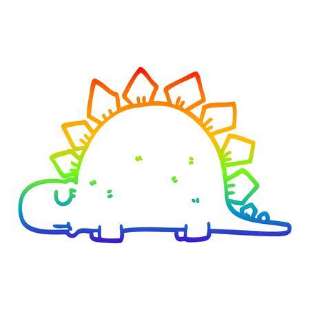 rainbow gradient line drawing of a cartoon prehistoric dinosaur Ilustração