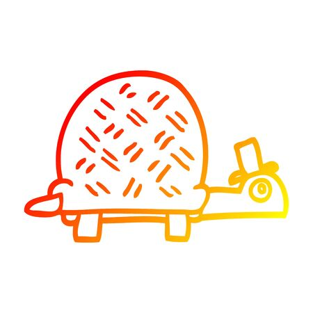 warm gradient line drawing of a cartoon funny tortoise Stock Illustratie