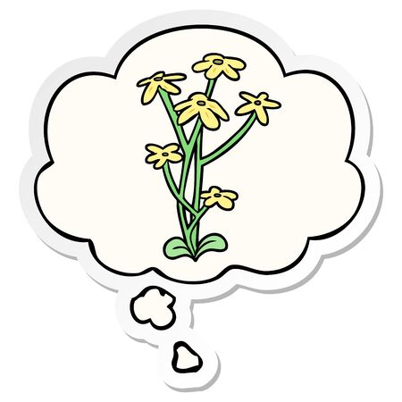 cartoon flower with thought bubble as a printed sticker