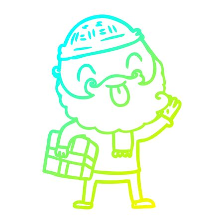 cold gradient line drawing of a man with beard carrying christmas present Stock Illustratie