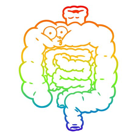 rainbow gradient line drawing of a cartoon surprised intestines
