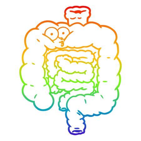 rainbow gradient line drawing of a cartoon surprised intestines