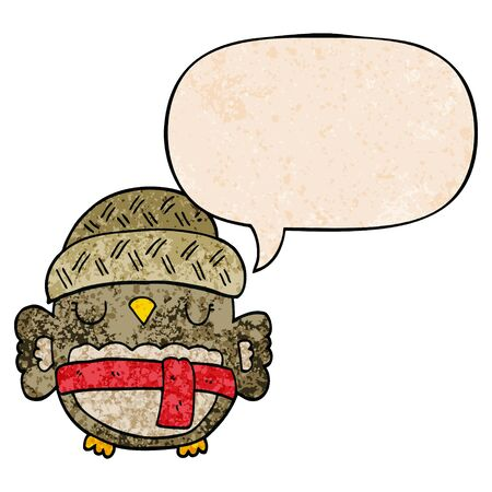 cute cartoon owl in hat with speech bubble in retro texture style