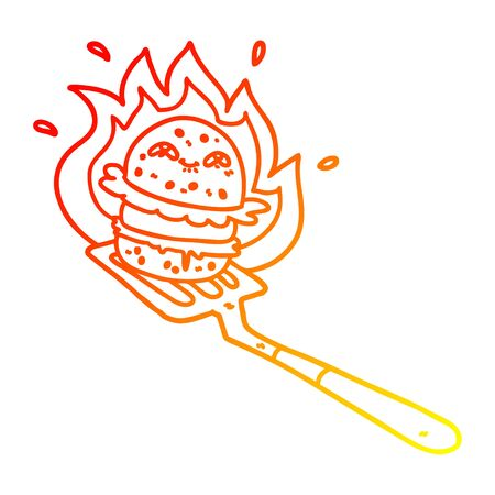 warm gradient line drawing of a cartoon burger cooking Ilustração