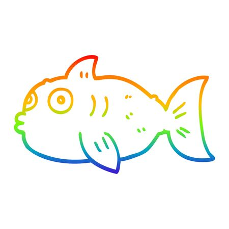 rainbow gradient line drawing of a cartoon surprised fish 일러스트