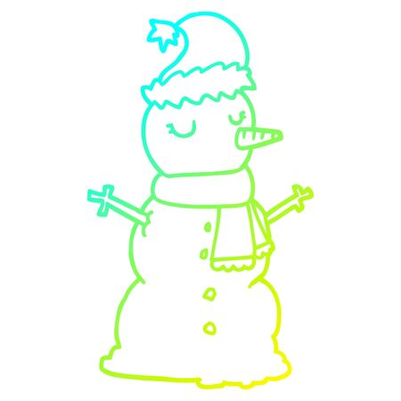 cold gradient line drawing of a cartoon snowman Stock Illustratie