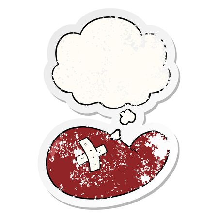 cartoon injured gall bladder with thought bubble as a distressed worn sticker
