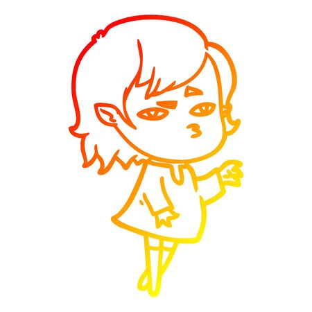 warm gradient line drawing of a cartoon vampire girl