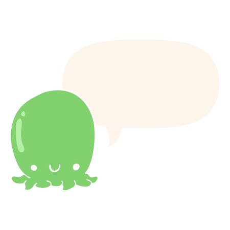 cute cartoon octopus with speech bubble in retro style Ilustrace