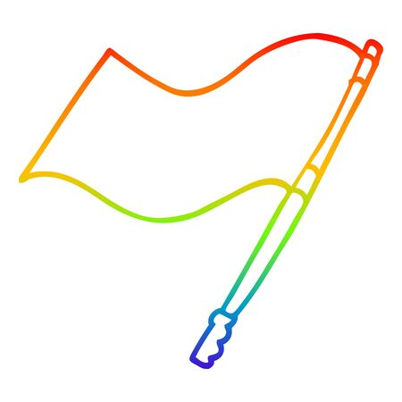 rainbow gradient line drawing of a cartoon flag Illustration