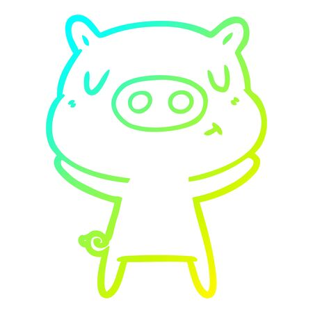 cold gradient line drawing of a cartoon content pig