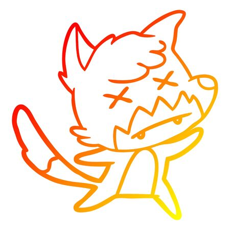 warm gradient line drawing of a cartoon dead fox Ilustração