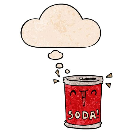 cartoon soda can with thought bubble in grunge texture style Imagens - 129797531