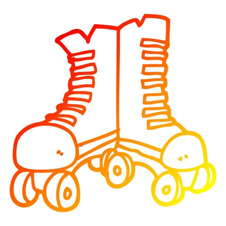warm gradient line drawing of a cartoon roller boots