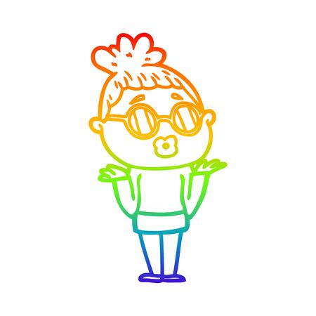 rainbow gradient line drawing of a cartoon confused woman wearing spectacles Foto de archivo - 129797772