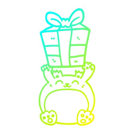 cold gradient line drawing of a cute cartoon christmas bear Stock Illustratie