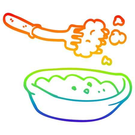 rainbow gradient line drawing of a cartoon bowl of food