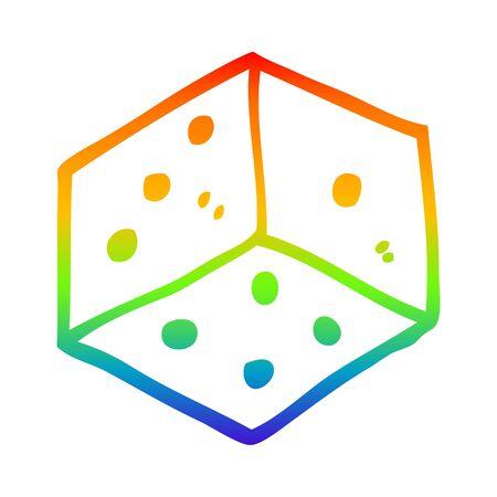 rainbow gradient line drawing of a cartoon tattoo dice symbol