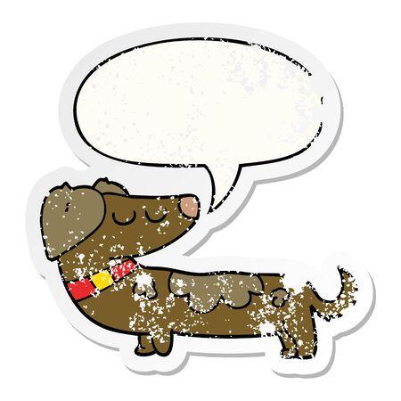 cartoon dog with speech bubble distressed distressed old sticker Illusztráció