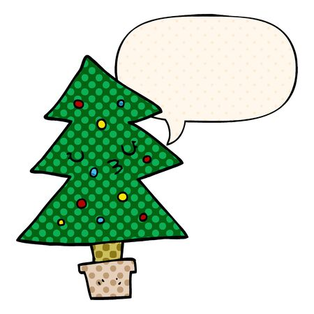 cartoon christmas tree with speech bubble in comic book style