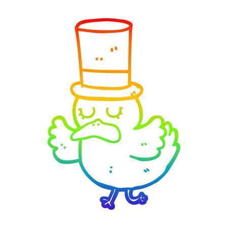 rainbow gradient line drawing of a cartoon duck wearing top hat Foto de archivo - 129797797